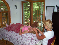 Kathy performing Reiki